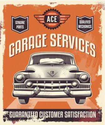 Quadro Retro sinal do vintage - Publicidade cartaz - carro clássico - Garagem