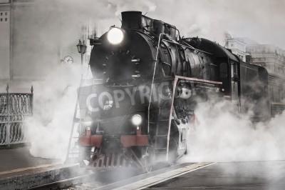 Quadro Retro trem a vapor sai da estação ferroviária