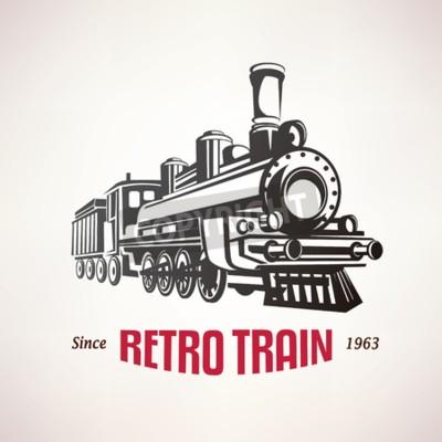 Quadro Retro, trem, vindima, vetorial, Símbolo, emblema ...