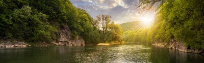 Quadro rio da floresta com as pedras na costa no por do sol
