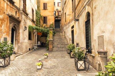 Quadro Romântico, beco, antigas, parte, roma, itália
