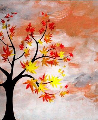 Quadro romântico pôr do sol com uma árvore