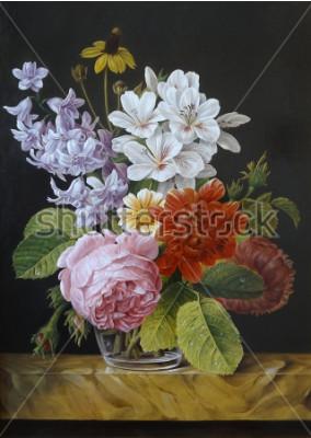 Quadro Rosas em um vaso de vidro. Papoulas, violetas, camomila. Pintura. Ainda vida.