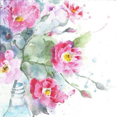 Quadro Rosas na pintura da aguarela do frasco isolada no cartoes