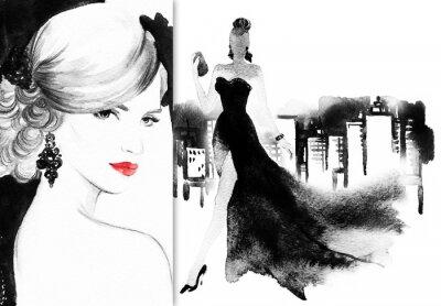 Quadro Rosto bonito. Mulher com vestido elegante. Fundo abstrato da aguarela .fashion