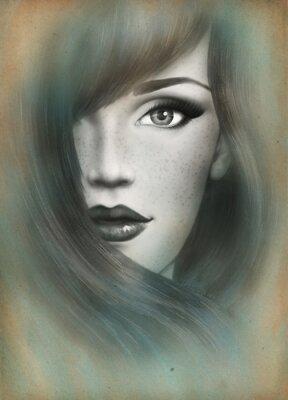 Quadro Rosto bonito. Retrato da mulher. Fundo abstrato da aguarela .fashion