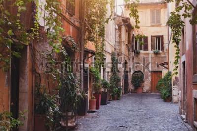 Quadro rua aconchegante em Roma, Itália