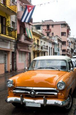 Quadro Rua cena no dia chuvoso em Havana, Cuba
