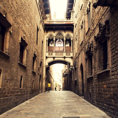 Quadro Rua gótico com arco em Barcelona perto de Catedral.
