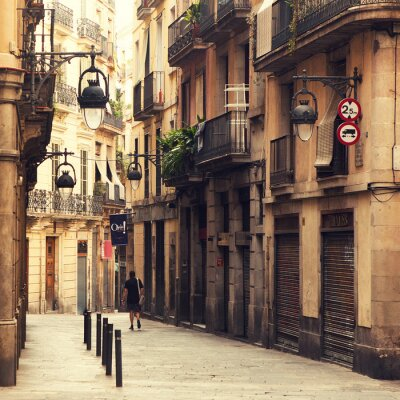 Quadro Rua no Bairro Gótico, em Barcelona.