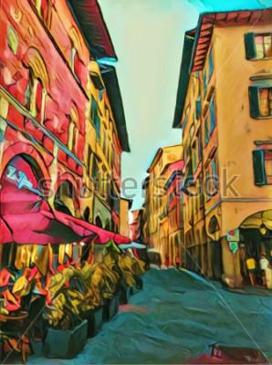 Quadro Rua pequena italiana do vintage em Florença. Arquitetura antiga tradicional da Itália. Tamanho grande pintura a óleo de belas artes. Impressionismo moderno desenhado artwork. Impressão artística criat