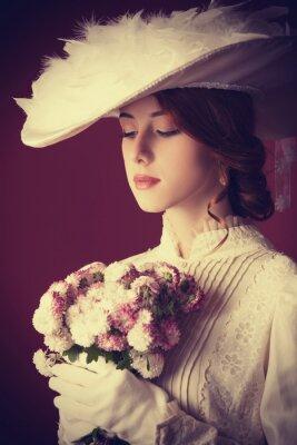 Quadro Ruiva Mulheres bonitas com bouquet