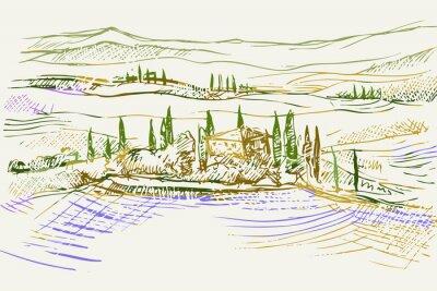 Quadro Rysynek ręcznie rysowany. Toskański pejzaż z okolic Sieny we Włoszech w Europie