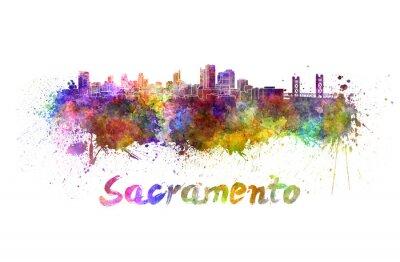 Quadro Sacramento horizonte em aquarela