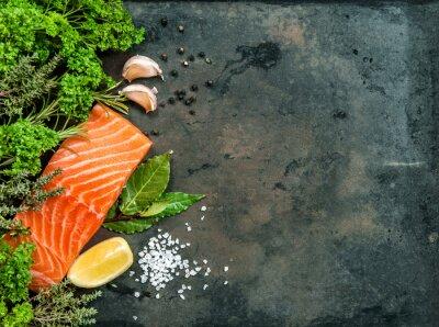 Quadro Salmão, peixe, filete, ervas, temperos