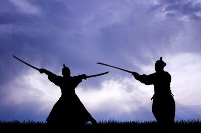 Quadro Samurai silhueta