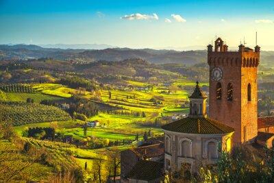 Quadro San Miniato torre sineira da catedral. Pisa, Toscânia Itália Europa.