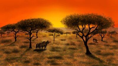 Quadro Savana, pôr do sol