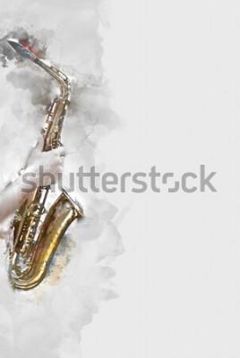 Quadro Saxofone abstrato em primeiro plano. Close-up, jazz pintura aquarela, tocando saxofone.