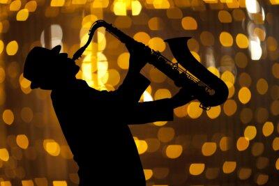 Quadro Saxofonista Homem, tocando, saxofone