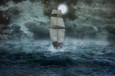 Quadro Schiff, Meer, Ozean, Blau, Wolken, Wasser, Segel, Sturm