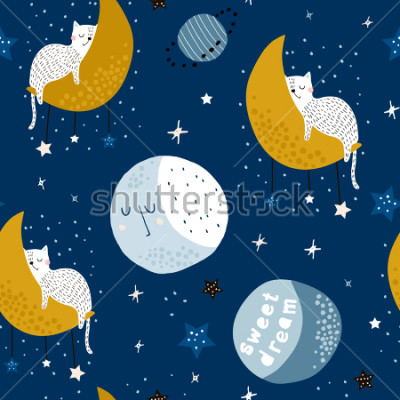 Quadro Seamless childish pattern with cats on moons and starry sky. Creative kids texture for fabric, wrapping, textile, wallpaper, apparel. Vector illustration