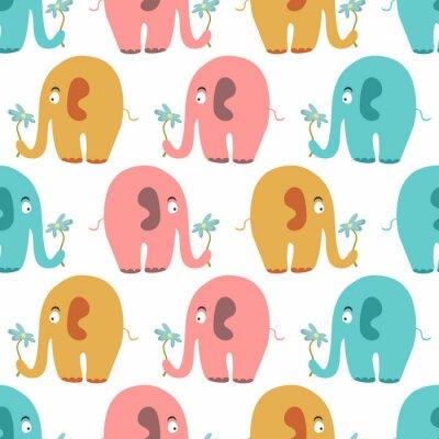 Quadro Seamless com animais coloridos bonitos