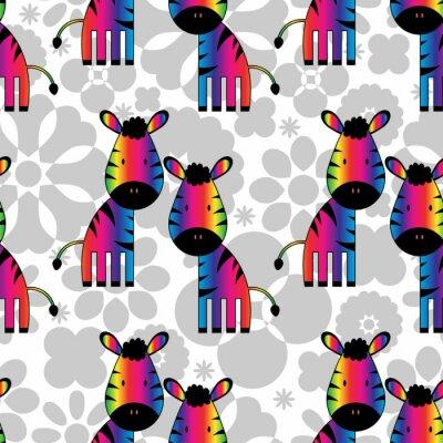 Quadro Seamless com zebras engraçadas do arco-íris