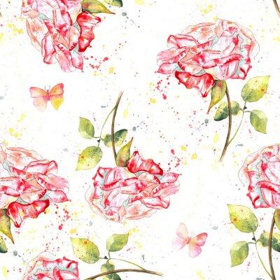 Quadro Seamless, fundo, Padrão, com, watercolour, rosas, salpicos, borboletas