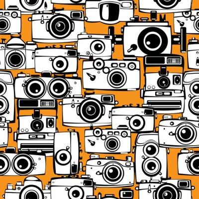Quadro seamless máquinas fotográficas de filme do vintage