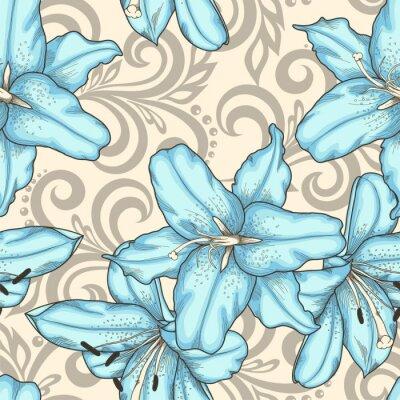 Quadro Seamless, Padrão, azul, lírios, flores, abstratos, floral, Redemoinhos