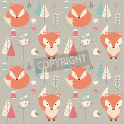 Quadro Seamless, Padrão, com, CÙte, Natal, bebê, raposa, cercado, com, floral, decoração, vetorial, Ilustração
