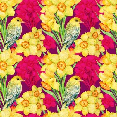 Quadro Seamless, padrão .Illustration, aquarela, flores, wildflowers, narciso, pássaro, Oriole