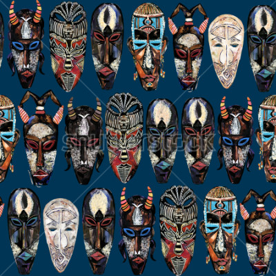 Quadro seamless pattern with african mask. hand drawn ethnic tribal totem background