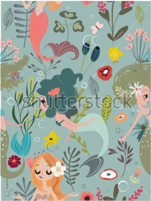 Quadro Seamless pattern with cartoon mermaids and flowers
