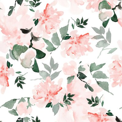 Quadro Seamless summer pattern with watercolor flowers handmade.
