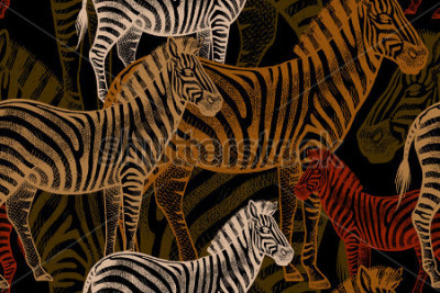 Quadro Seamless vector pattern with African animals. Colored Zebra on a black background. Template to create fabric, Wallpaper, paper, textiles, curtains, design summer clothes in the style of Safari.