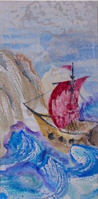Quadro seascape da aguarela com vela navio em um mar tempestuoso à lan