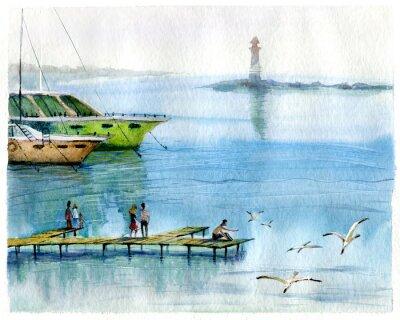 Quadro Seascape, iates, aquarela