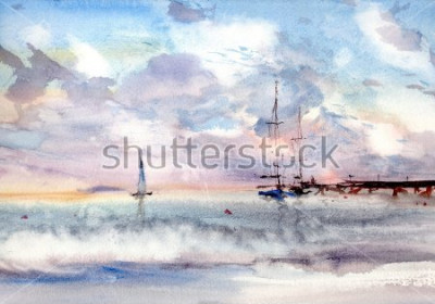 Quadro seascape porta aquarela