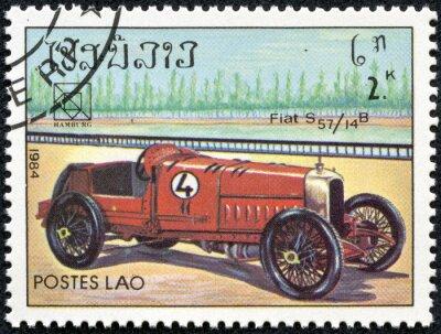 Quadro selo, impresso, Laos com um Fiat S57 carro desportivo do vintage