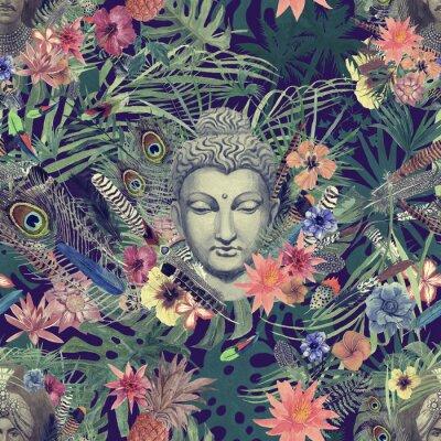 Quadro Sem costura mão desenhada padrão de aquarela com cabeça de Buda, marajá, flores, penas, palmas.