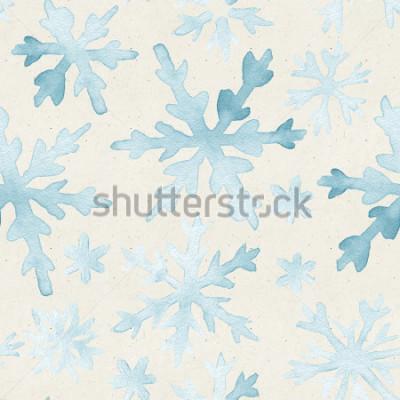 Quadro Sem costura padrão aquarela na textura de papel. Fundo de Natal.