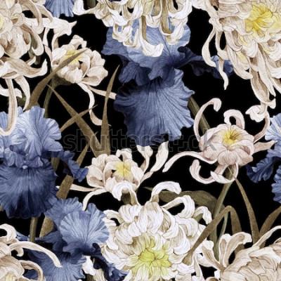 Quadro Sem costura padrão floral com crisântemo e íris, aquarela