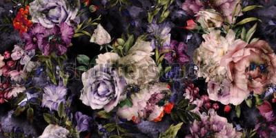 Quadro Sem costura padrão floral com flores, aquarela