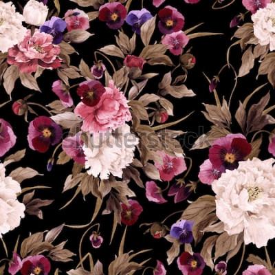 Quadro Sem costura padrão floral com peônias e amor-perfeito, aquarela