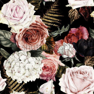 Quadro Sem costura padrão floral com rosas, aquarela.