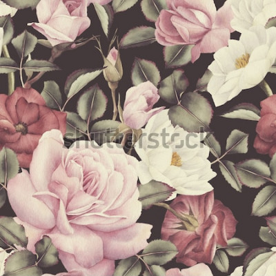 Quadro Sem costura padrão floral com rosas, aquarela