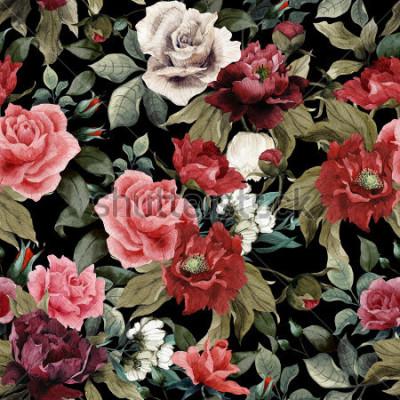Quadro Sem costura padrão floral com rosas e peônias em fundo escuro, aquarela