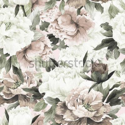 Quadro Sem costura padrão floral com rosas sobre fundo claro, aquarela.
